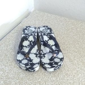 Tory Burch Black White Floral Sandals